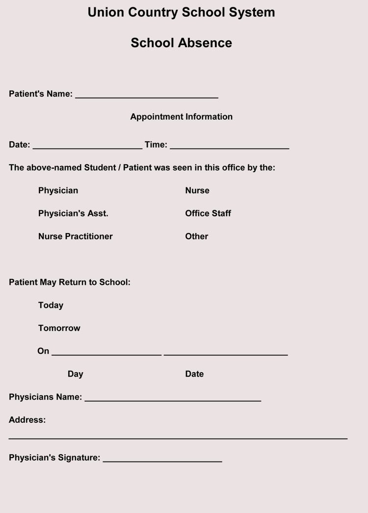 fake doctors note templates  u0026 excuses